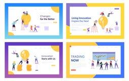 Торговая операция, идеи нововведения для набора шаблонов страницы посадки вебсайта дела Предприниматели с огромными лампочкой и э иллюстрация штока