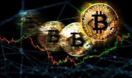 торговая операция рынка цены bitcoin, абстрактное финансовое blockchain технологии Стоковые Фото