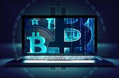 Торговая операция Bitcoin онлайн Стоковая Фотография RF