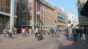 Торговая улица в Гааге, Голландии сток-видео