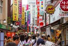 Торговая улица в Сеуле, Южной Корее Стоковые Изображения