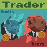 Торговцы быки и медведи Стоковое Изображение