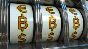 Торговый автомат ударяя 3 символа валюты bitcoin Концепции минирования, везения или вклада перевод 3d Стоковые Изображения