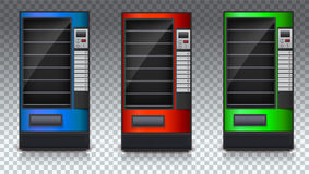 Торговый автомат для закусок или соды, еда и питье с пустыми полками Комплект покрашенного automat Торговый автомат зеленого цвет иллюстрация штока