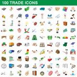 100 торговых установленных значков, стиль шаржа иллюстрация вектора