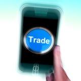 Торговля на мобильном телефоне показывает онлайн приобретение и продавать иллюстрация вектора