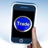 Торговля на телефоне показывает онлайн приобретение и продавать иллюстрация штока