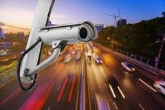 Торгуйте CCTV наблюдения камеры слежения на дороге в городе Стоковые Фотографии RF