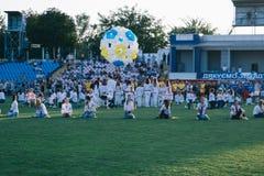 Торжества Дня независимости на стадионе в городе Cherkasy 24-ое августа 2018 стоковая фотография