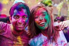Торжества фестиваля Holi в Индии Стоковые Фото