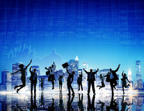 Торжества финансов бизнесмены концепции города стоковое изображение rf