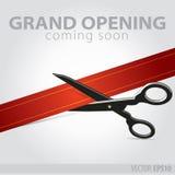 Торжественное открытие магазина - резать красную ленту бесплатная иллюстрация