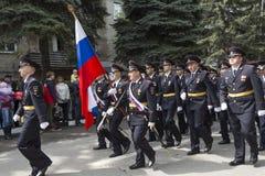 Торжественное шествие полиции Pyatigorsk в параде предназначает Стоковые Изображения