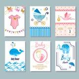 Торжество вектора newborn и дизайн карточек приглашения бесплатная иллюстрация