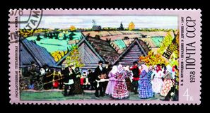 Торжество в деревне, 1907, v Kustodiev, столетие рождения стоковые изображения