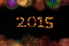 торжество 2015 год с фейерверками Стоковые Фотографии RF