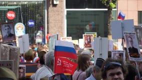 Торжество дня в Москве - бессмертного парада победы полка сток-видео
