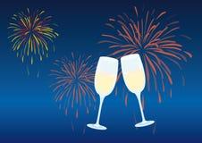 Торжество Нового Года с стеклом шампанского иллюстрация вектора