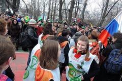 Торжество дня ` s St. Patrick в Москве Стоковая Фотография