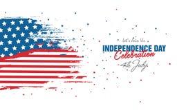 Торжество 4-ое июля с абстрактной предпосылкой флага США стиля стоковое фото rf