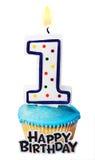 Торжество первого года то для изолированного дня рождения Стоковая Фотография