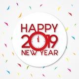 Торжество 2019 письма потехи С Новым Годом! на круглой предпосылке иллюстрация штока