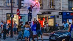 Торжество победы чашки 2018 Франции в мире Они чемпионы стоковая фотография