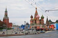 Торжество праздника Первого Мая в Москве Стоковые Изображения