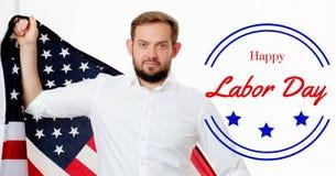 Торжество работника на День Трудаа американский флаг Стоковые Изображения RF