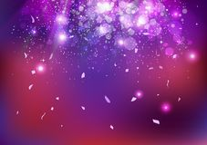 Торжество, событие партии, пыль звезд и confetti понижаясь, разбрасывают, предпосылка конспекта концепции искры взрыва накаляя пу иллюстрация штока