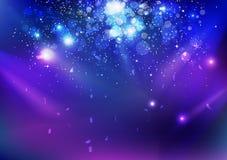 Торжество, событие, пыль звезд и confetti понижаясь, свет голубого взрыва ночи накаляя на предпосылке конспекта концепции этапа бесплатная иллюстрация