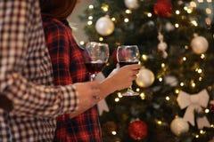 Торжество с стеклами красного вина, концепция рождества Стоковые Изображения RF