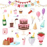 Торжество торта или пирожного рождения childs шаржа вектора партии детей дня рождения счастливое с подарками и с днем рождения ра иллюстрация вектора