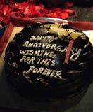 Торжество торта любов годовщины романтичное стоковые фото