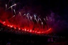 Торжество фейерверков реки Стоковая Фотография