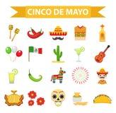 Торжество Cinco de Mayo в Мексике, значках установило, элемент дизайна, плоский стиль Объекты собрания для парада Cinco de Mayo иллюстрация штока