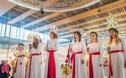 Торжество Lucia в Швеции Стоковое Фото