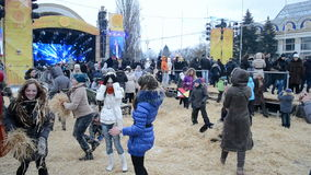 Торжество Shrovetide (Maslenitsa) в Киеве, Украина, акции видеоматериалы