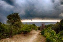 Торнадо над морем Стоковая Фотография RF