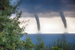 Торнадо над морем Стоковая Фотография