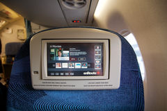 ТОРОНТО, КАНАДА - 28-ое января 2017: Места предпринимательского класса Air Canada внутри Embraer ERJ-190 от AC Воздух Canadas Emb Стоковые Фотографии RF