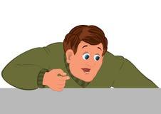 Торс человека шаржа в зеленой руке свитера одного Стоковые Фотографии RF