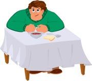 Торс человека шаржа в зеленом свитере идя иметь обедающий Стоковое Изображение RF