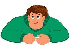 Торс человека шаржа в зеленом свитере Стоковое Фото