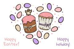 2 торта пасхи с красочными яйцами иллюстрация вектора