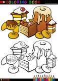 Торты и печенья для расцветки иллюстрация вектора