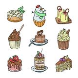 Торты и пирожные vector часть чизкейка для счастливого бесплатная иллюстрация
