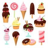 Торты печениь и комплект значка мороженого иллюстрация вектора
