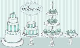 Торты, пирожные и шипучки торта Стоковая Фотография