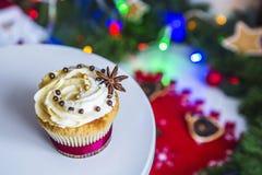 Торты, пирожные с высушенным лимоном и шоколад на белом постаменте на предпосылке зеленых гирлянды и светов рождества Стоковое Изображение RF